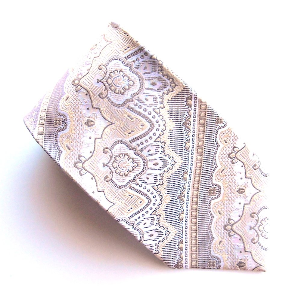Ferre Massimo Golden Brown Beige Design 100% Silk mens necktie tie