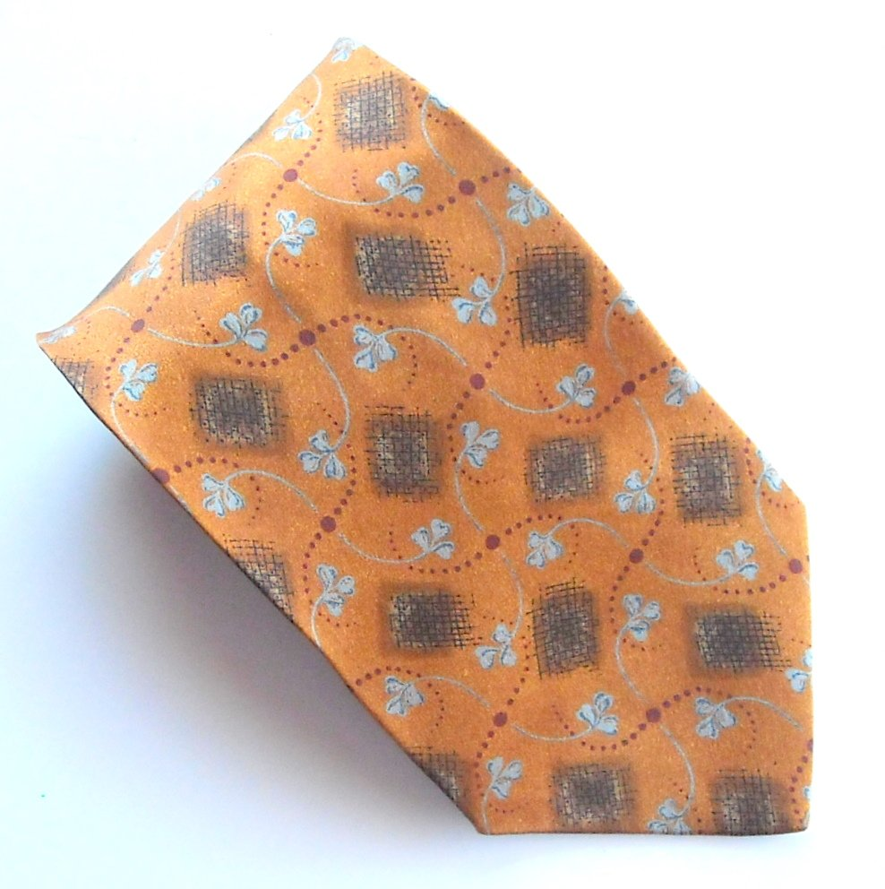 Joseph Abboud Copper Brown Blue Design 100% Silk mens necktie tie