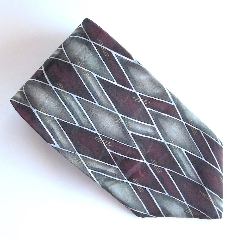 Arrow Red Gray Silver Geometric Design Silk Mens Necktie