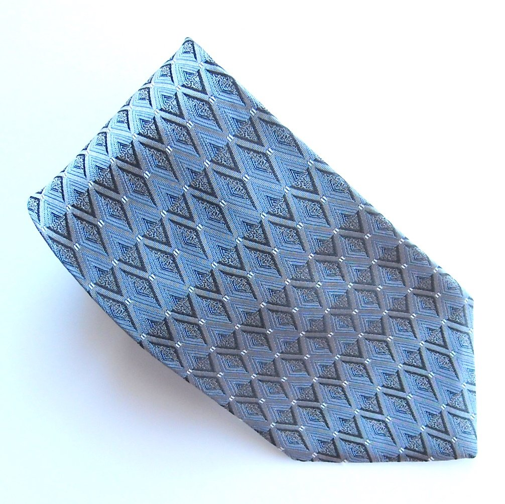 Arrow Black Blue Silver Geometric Design 100% Silk mens necktie