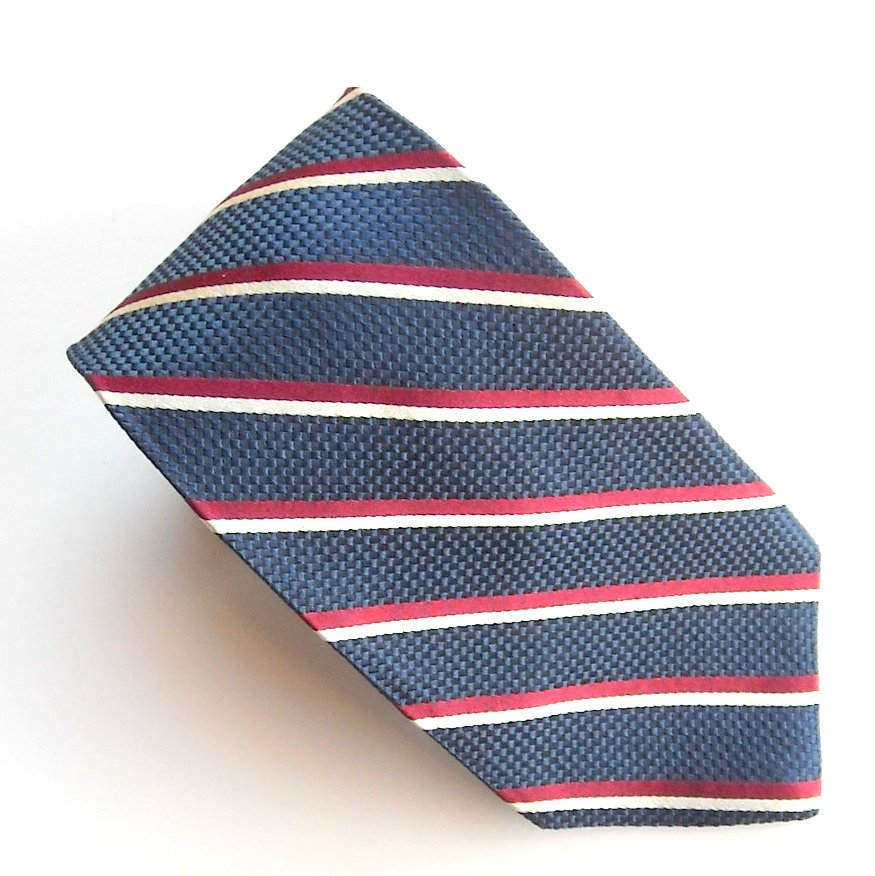 lands end blue bar striped design mens 100 silk