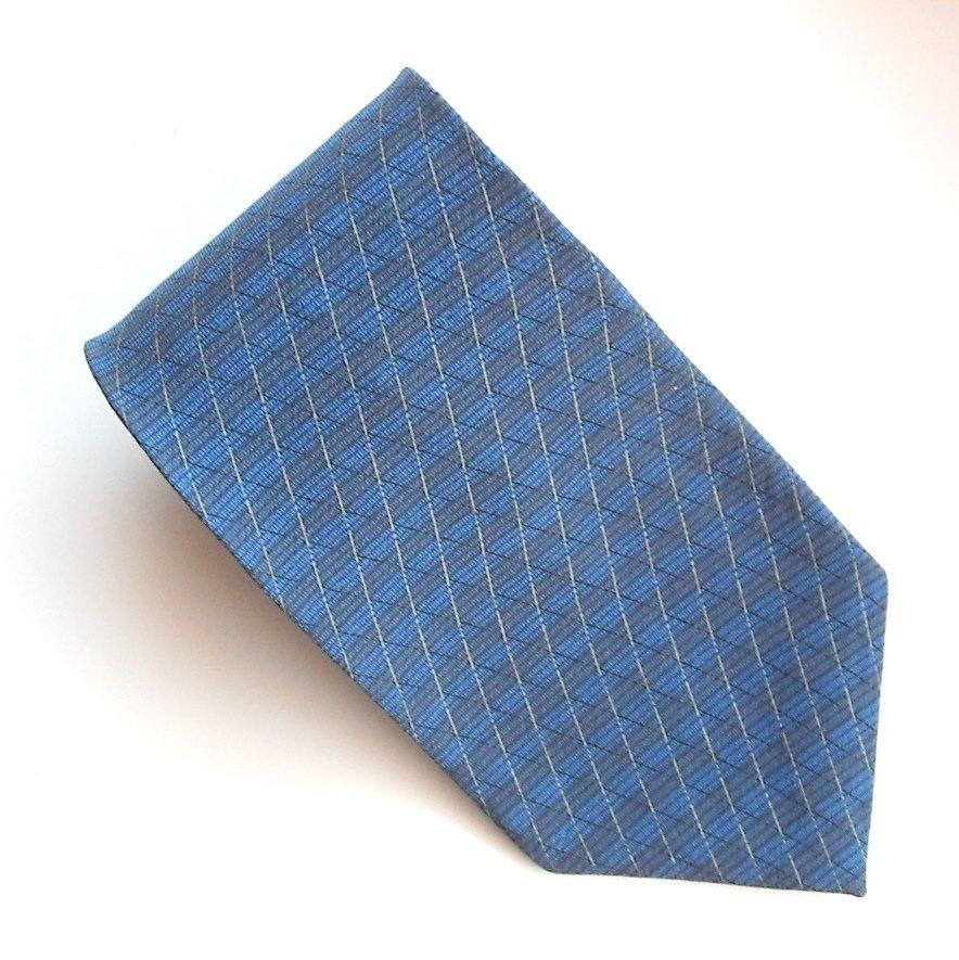 Croft & Barrow Blue Beige Diagonal Striped mens 100% Silk necktie tie