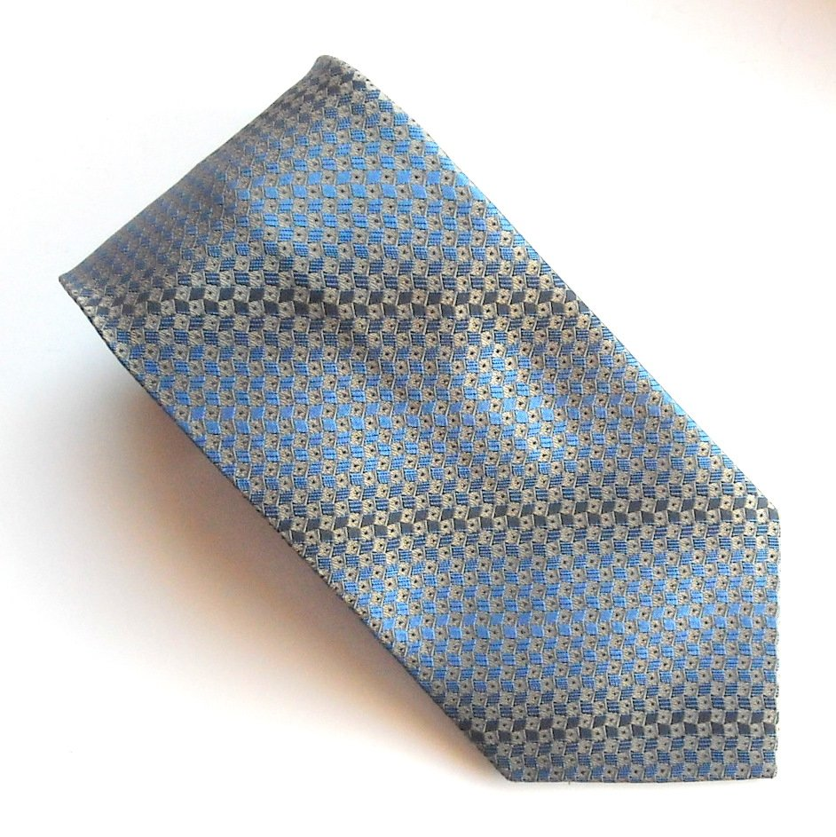 Kenneth Cole New York Blue Golden Black Geometric Design Mens 100% Silk Necktie Tie
