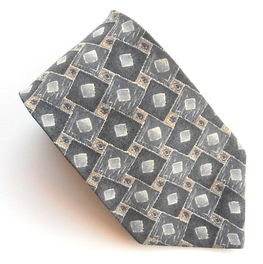 Zylos George Machado Grey Blue Art Deco Design Mens Silk Necktie Tie