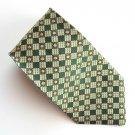 Venanzi Modern Green Silver Gray Geometric design mens 100% Silk necktie tie