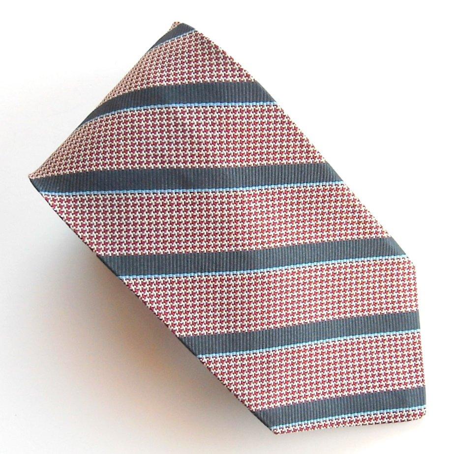 Embassy Row Navy Blue Striped Design 100% Silk mens necktie