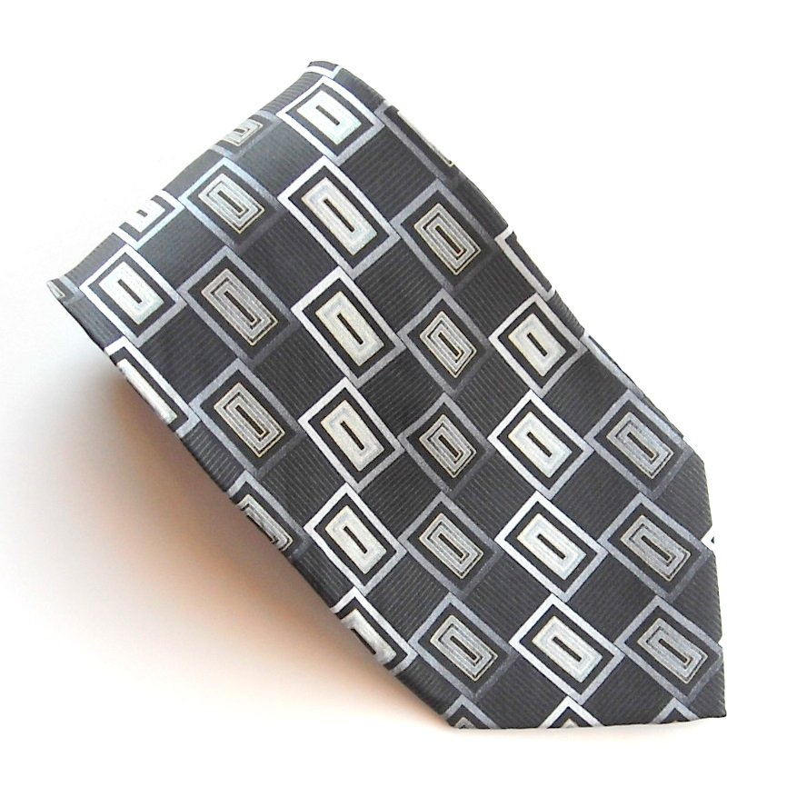 Kilburne And Finch Black Modern design mens 100% Silk necktie tie