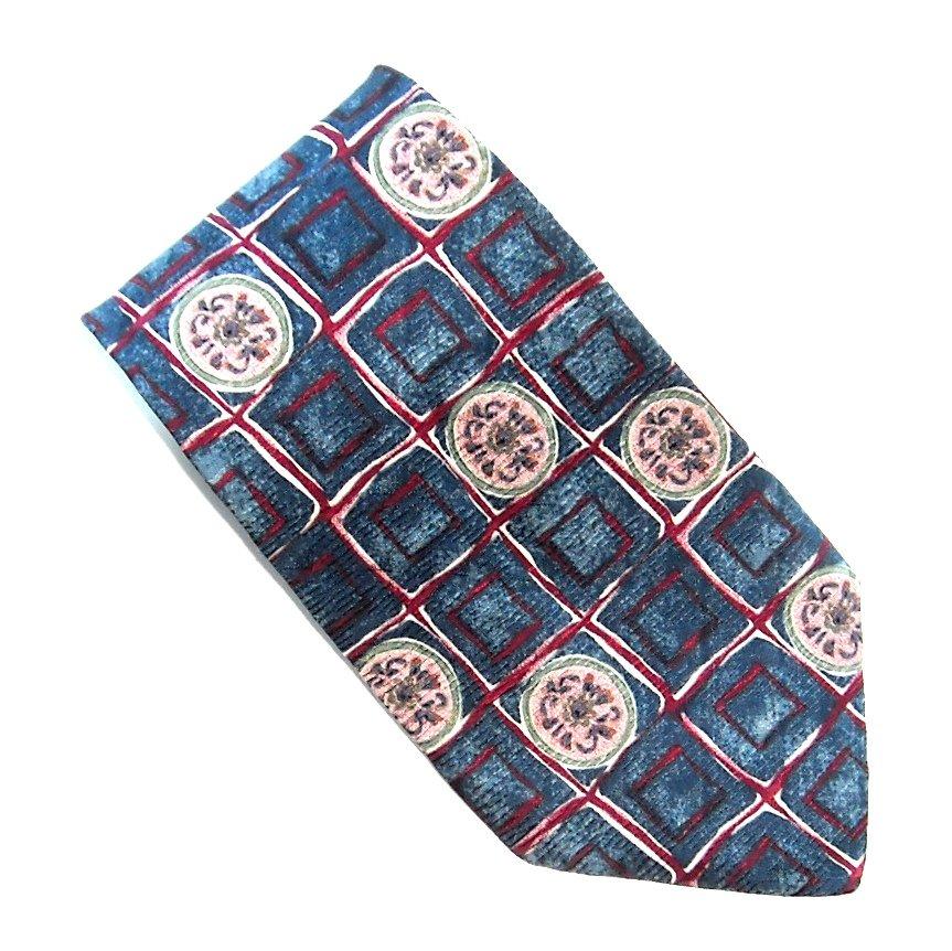 Damon Blue Red Geometric Design 100% Silk Necktie Tie