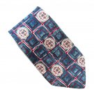 Damon Blue Red Geometric Design 100% Silk Necktie Tie