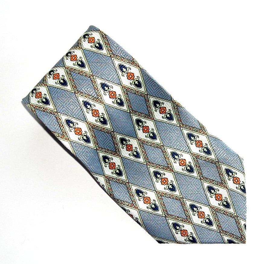 Brother's Hand Made Silver Modern Symmetric Design Silk Necktie Tie