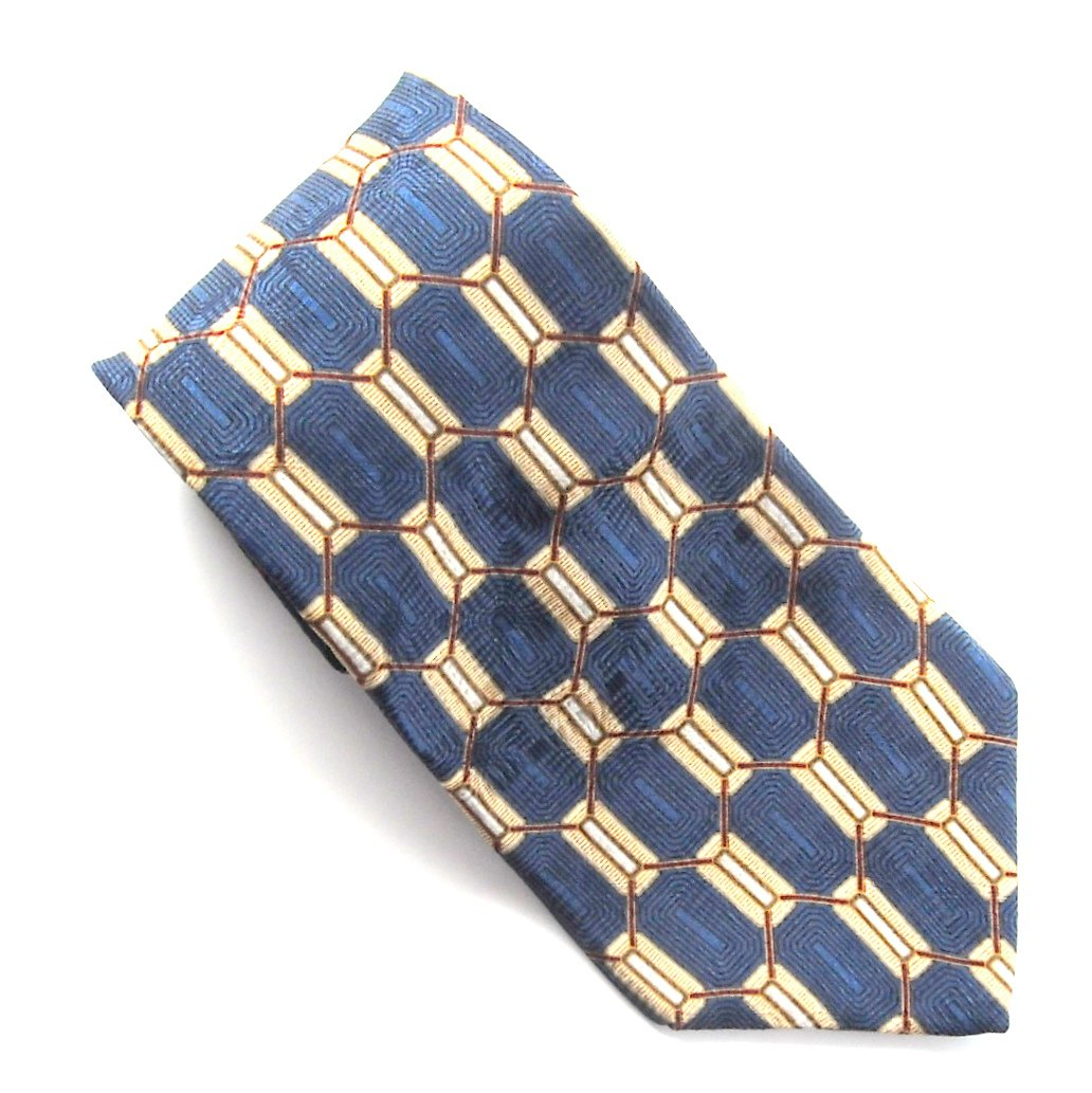 Bill Blass Blue Beige Red Geometric Design 100% Silk mens necktie
