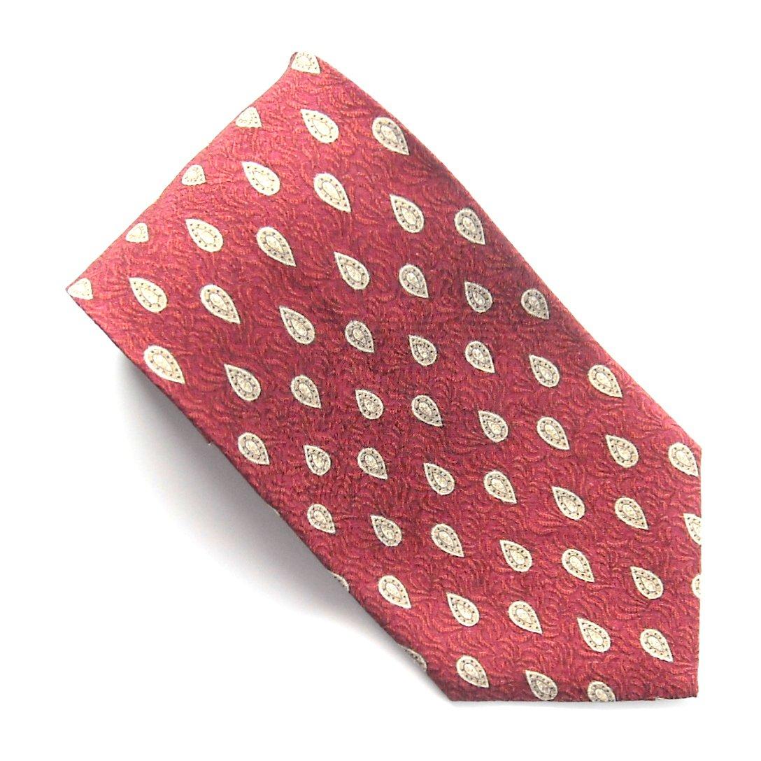 Claiborne Red Beige Geometric Design mens 100% Silk necktie tie