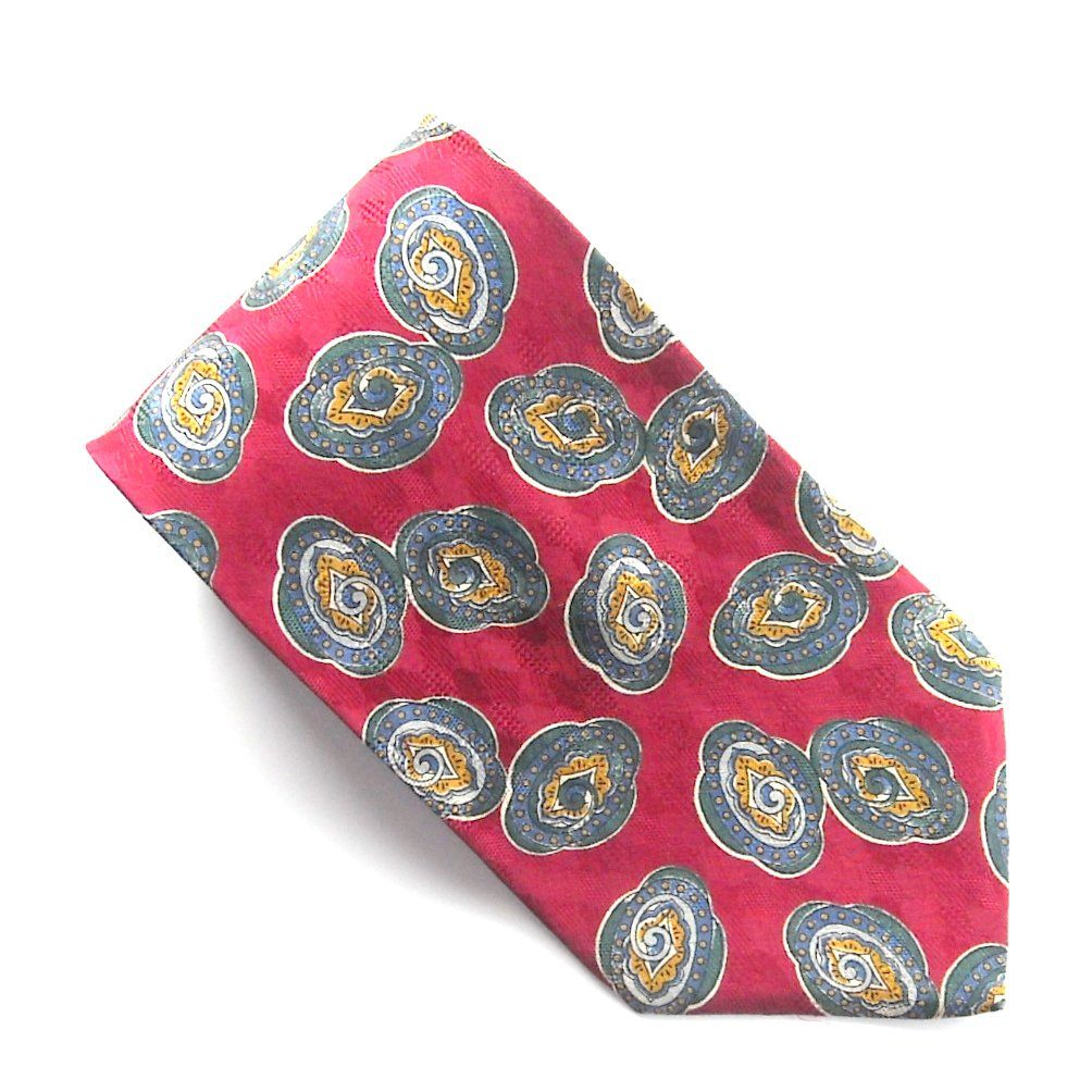 Peterborough Row Bloomingdale's Red Green Design 100% Silk mens necktie tie