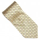 Nautica Golden Beige with Black White Lines Design 100% Silk mens necktie tie