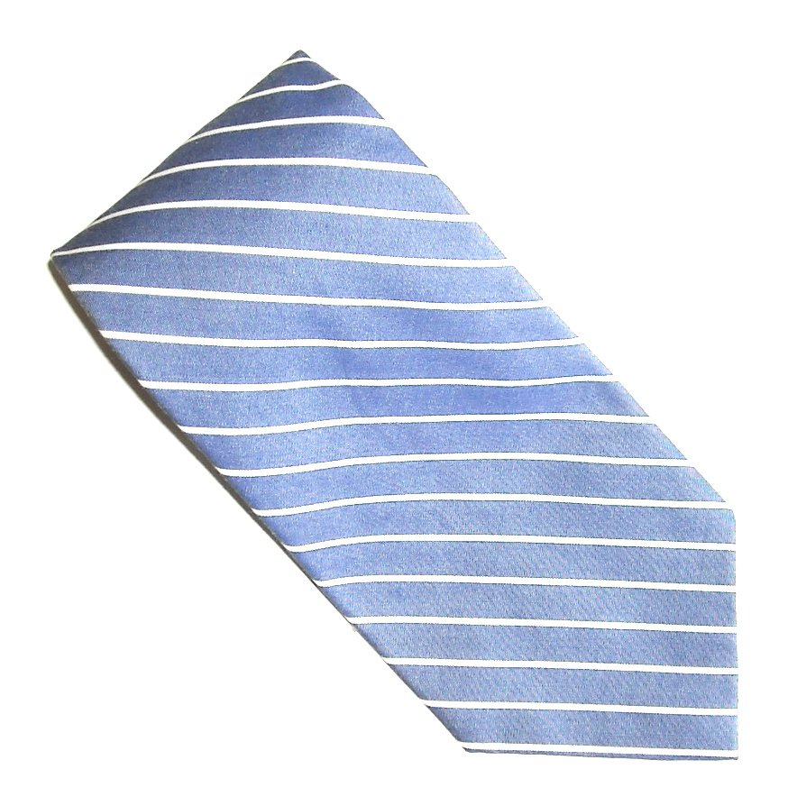 Polo Ralph Lauren Blue with White Stripes Design Silk Mens Necktie Tie