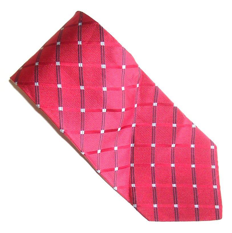 Nautica Red with White Dots Lines Design Mens Silk Necktie Tie