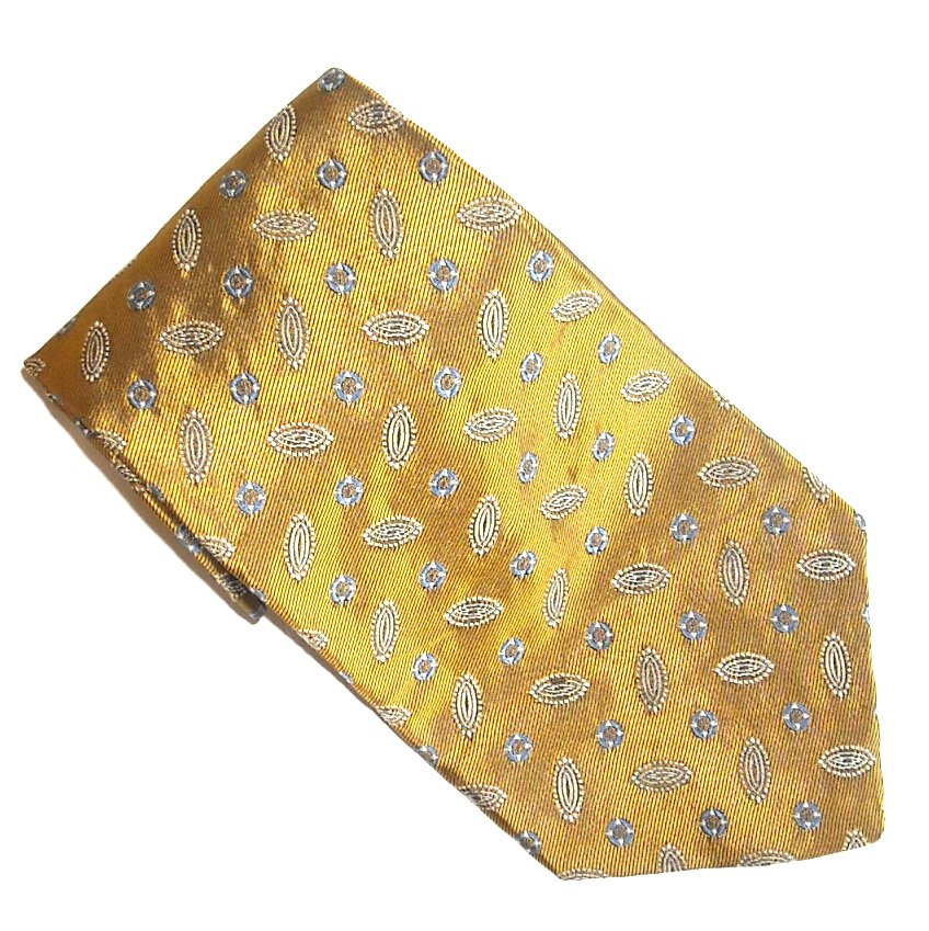 Chaps Golden Blue Gold White Design Mens Silk Necktie Tie