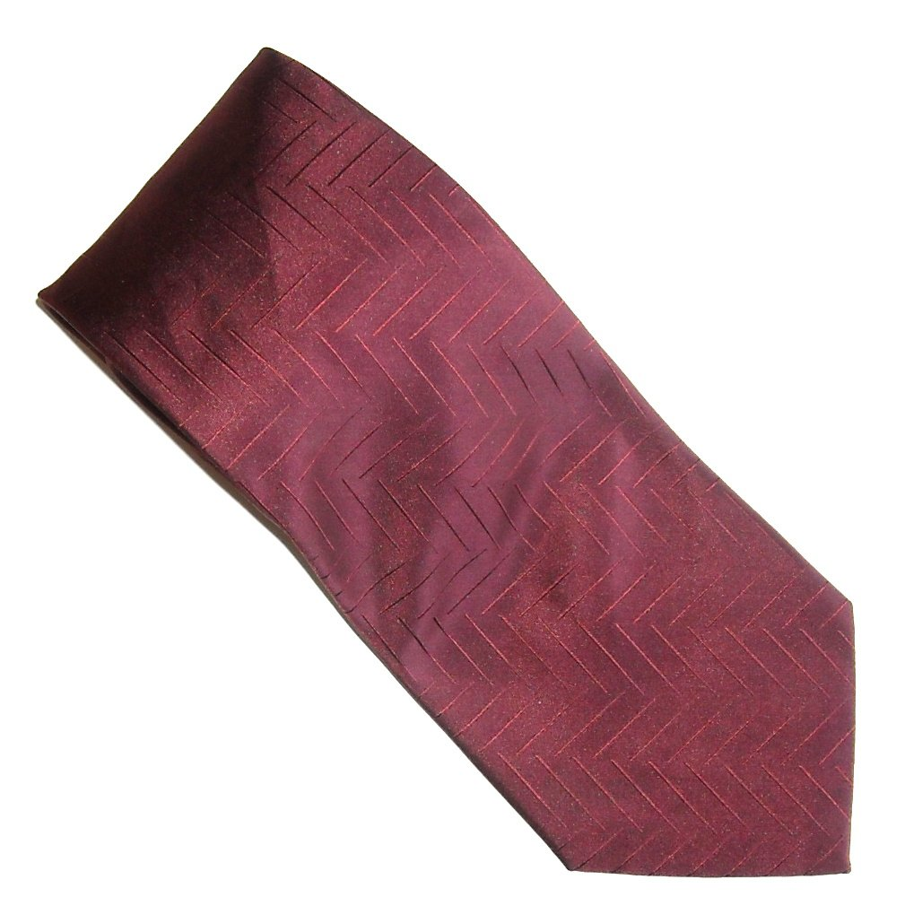 Claiborne Handmade Cardinal Red with Design 100% Silk mens necktie tie