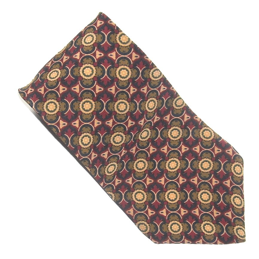 Bill Blass Burgundy Navy Blue Red Yellow Geometric Design 100% Silk mens necktie