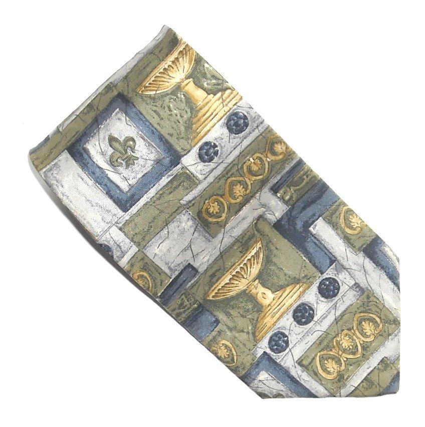 Bill Blass Olive Green Yellow Blue Art Deco Design 100% Silk mens necktie