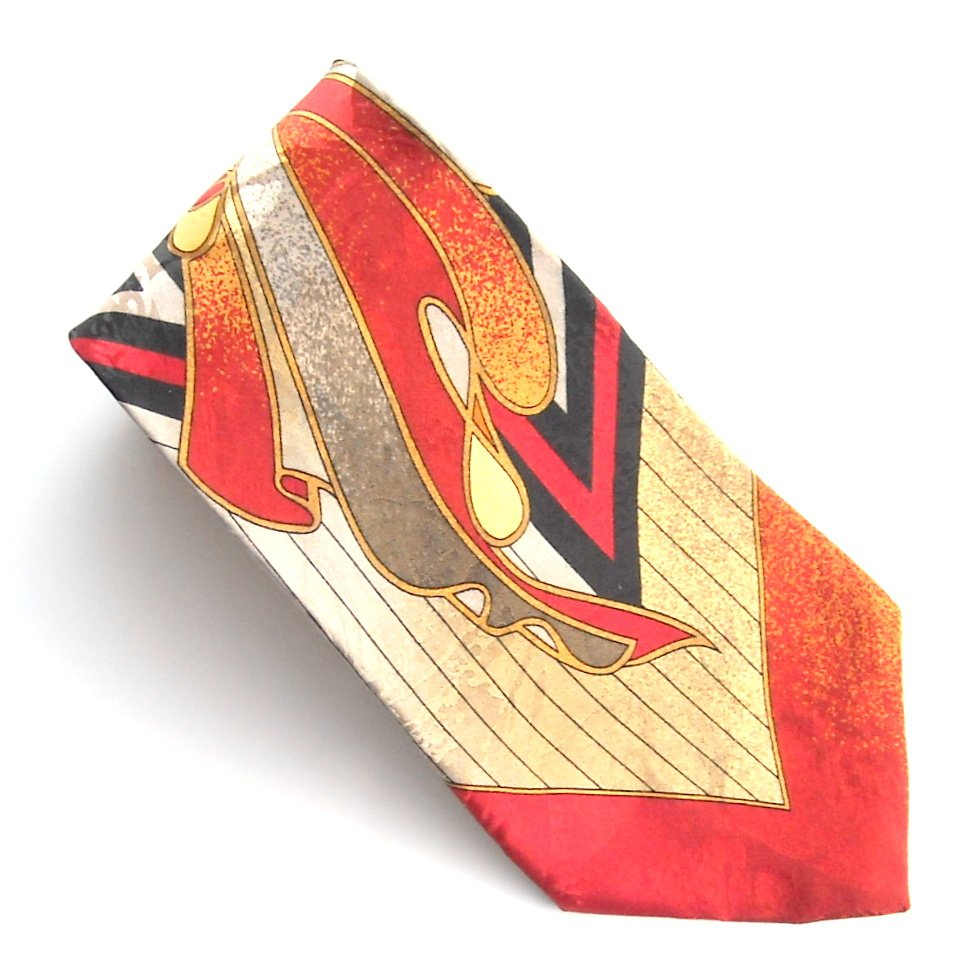 Henri Christian Golden Colors Art Deco Design mens 100% Silk necktie tie