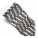 Como Collezione Black Brown Beige Colors Art Deco Design mens 100% Silk necktie tie