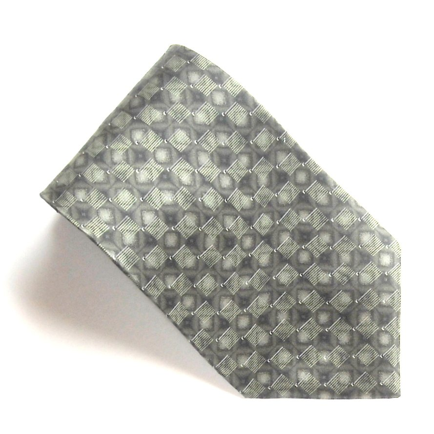 Bill Blass Green Geometric Olive Green Design 100% Silk mens necktie