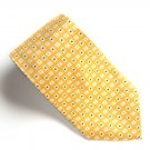 Bill Blass Yellow Geometric Blue Design 100% Silk mens necktie