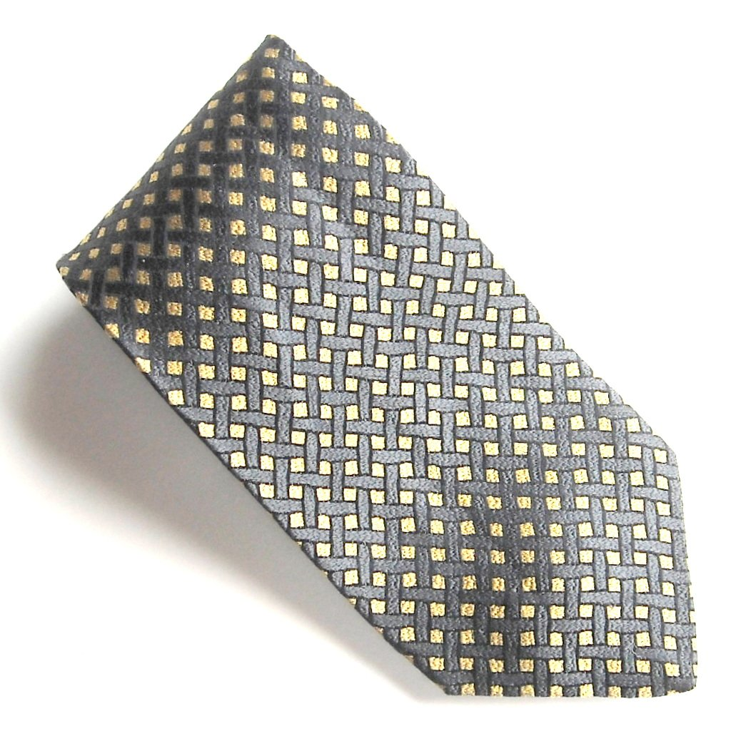 Today's Man Italy Black Golden Design 100% Silk mens necktie tie