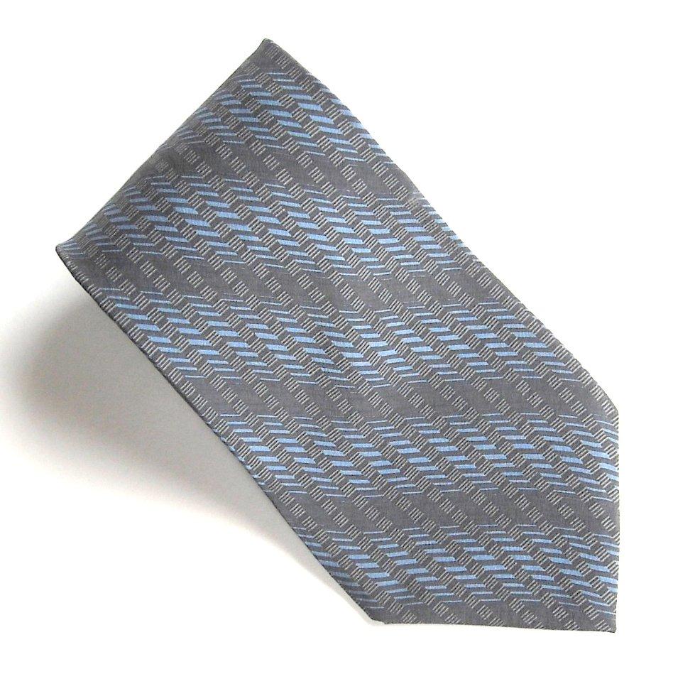 Claiborne Black Navy Blue Geometric Design mens 100% Silk necktie tie