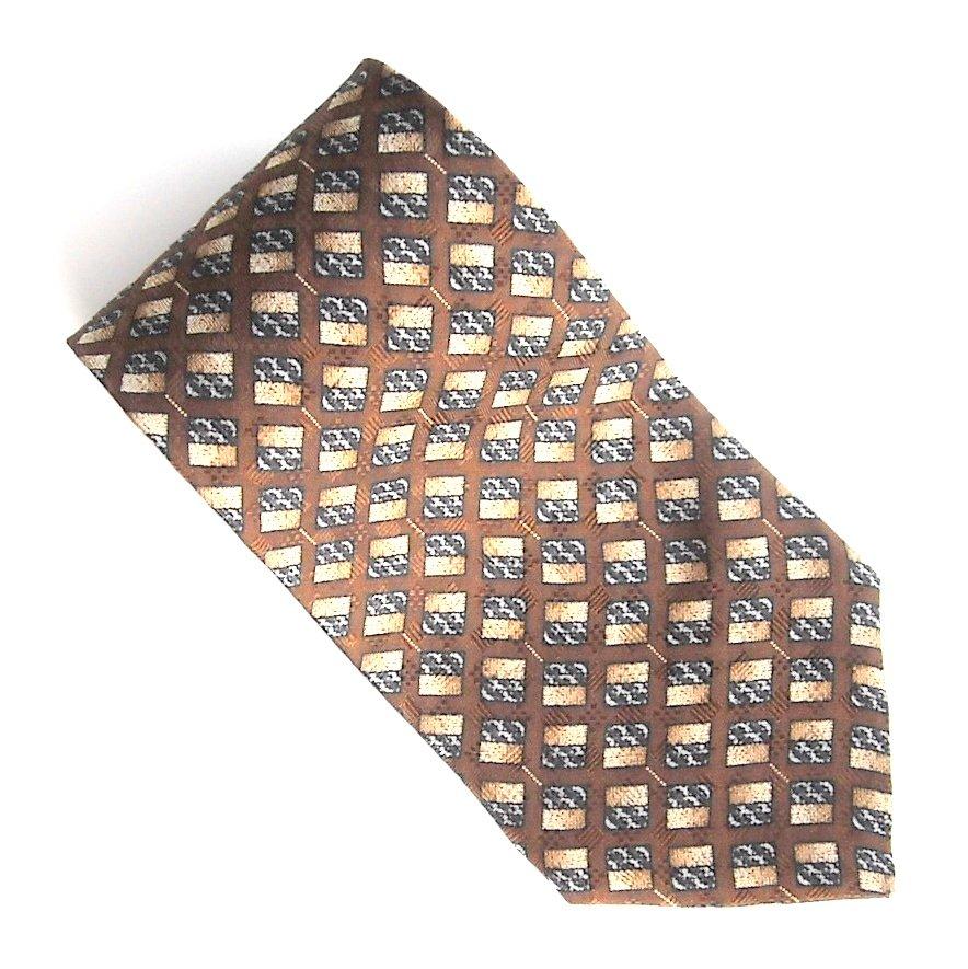 Hill & Archer Brown Yellow Gray Checker Board Design 100% Silk mens necktie