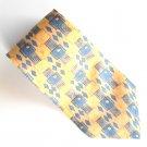 Van Heusen Yellow Gray Blue Geometric Design 100% Silk mens necktie