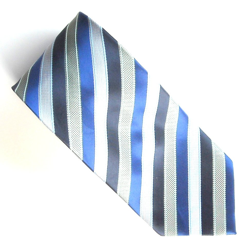 Haggar Navy Blue Black Gray Stripe Design 100% Silk mens necktie