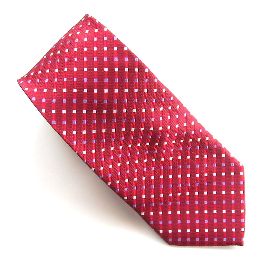 Impermeable by Weatherproof Red Purple White Design mens 100% Silk necktie tie