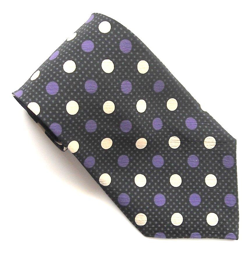 Modules Polka Dots Black Purple Beige Novelty Mens Silk Necktie Tie