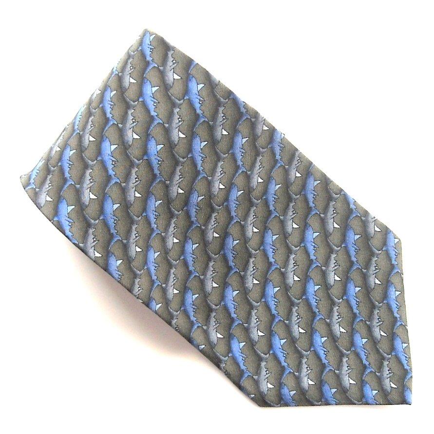 Natura Sharks Black Blue Gray Novelty mens 100% Silk necktie tie