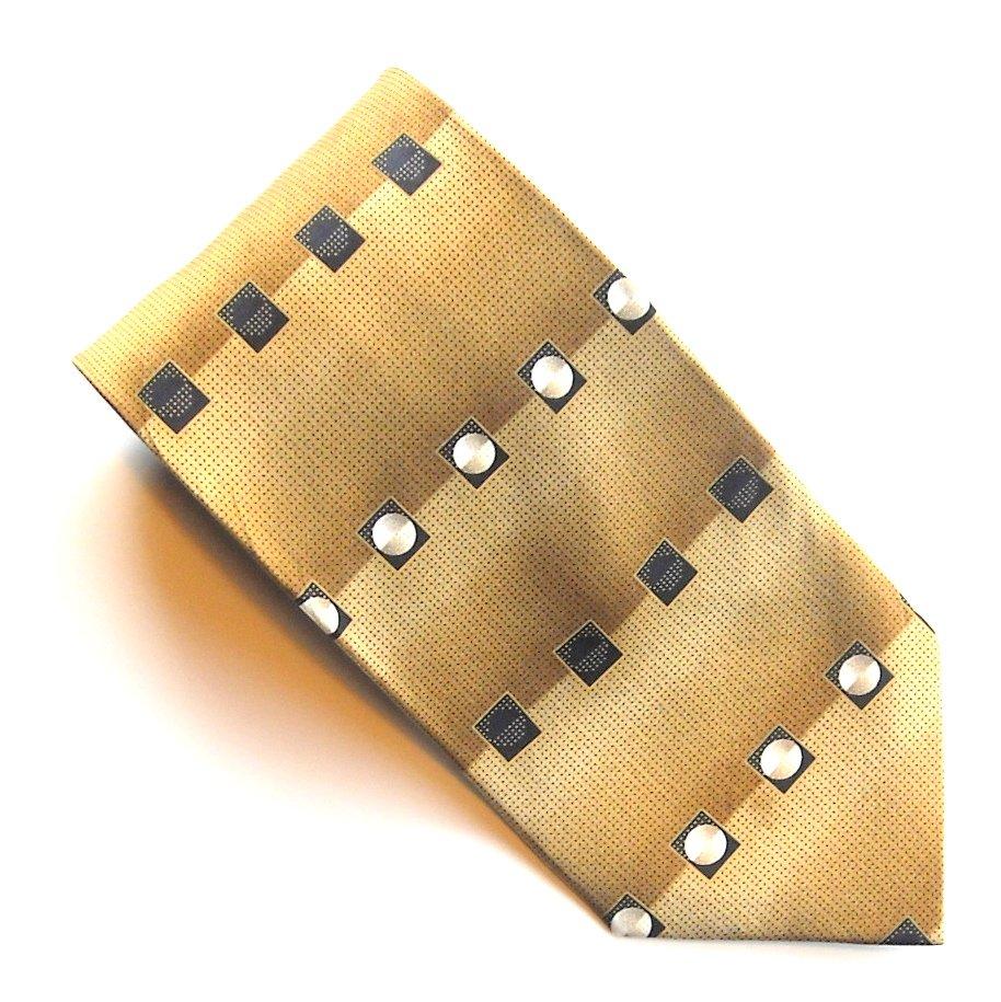 Croft & Barrow Golden Black Silver White Design mens 100% Silk necktie tie
