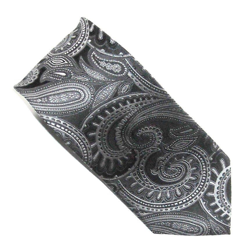 Croft & Barrow Black Silver White Design mens 100% Silk necktie tie