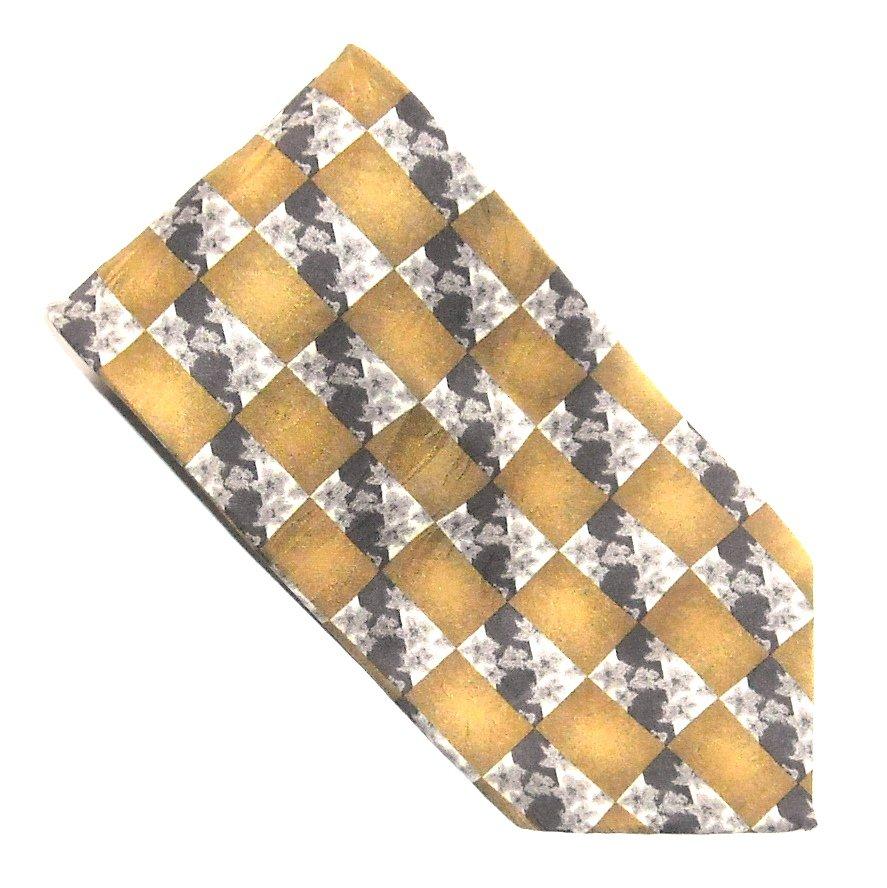 Ottimo Uomo Brown Beige with Dark Brown Design mens 100% Silk necktie tie