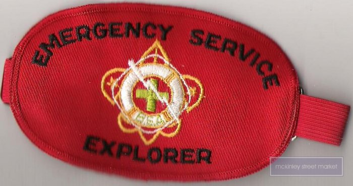 BSA BOY SCOUTS OF AMERICA 1950s EXPLORER EMERGENCY SERVICE ARMBAND ARM BAND