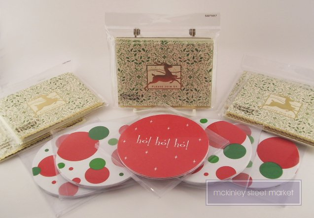 LOT OF CHRISTMAS HOLIDAY PARTY INVITATIONS AND COASTERS NIP