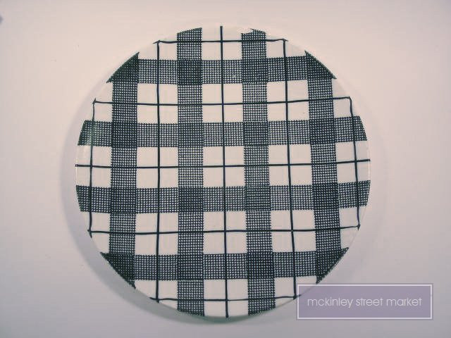 ORIGINAL HAND-ETCHED HEATHER PLAID UNDERGLAZED PLATE