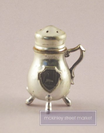 OLD SILVER 4 LEGGED SALT/PEPPER SHAKER CALIFORNIA