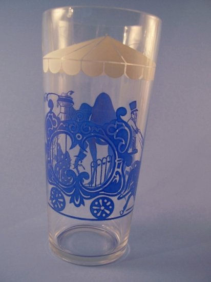 VINTAGE SWANKY SWIGS TALL JELLY GLASS BLUE CIRCUS 1950's