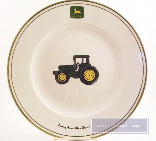 SET OF FOUR 4 JOHN DEERE STONEWARE DINNER PLATES