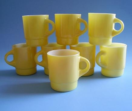 8 FK FIRE KING CUPS YELLOW 1950'S