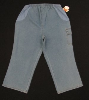 DENIM MATERNITY CARGO MATERNITY CAPRIS W/SIDE EASTIC PANELS SIZE 12