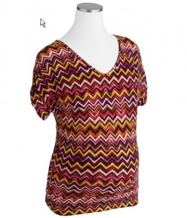 NWOT COLORFUL STYLISH V NECK MATERNITY SHIRT W/SHIRRED SHORT SLEEVES SIZE SMALL