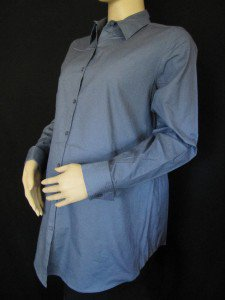 BLUE LONG SLEEVE BUTTON DOWN MATERNITY SHIRT SIZE S
