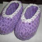 Handmade Purple White Border Baby Crochet Booties Shoes Feet Warmers
